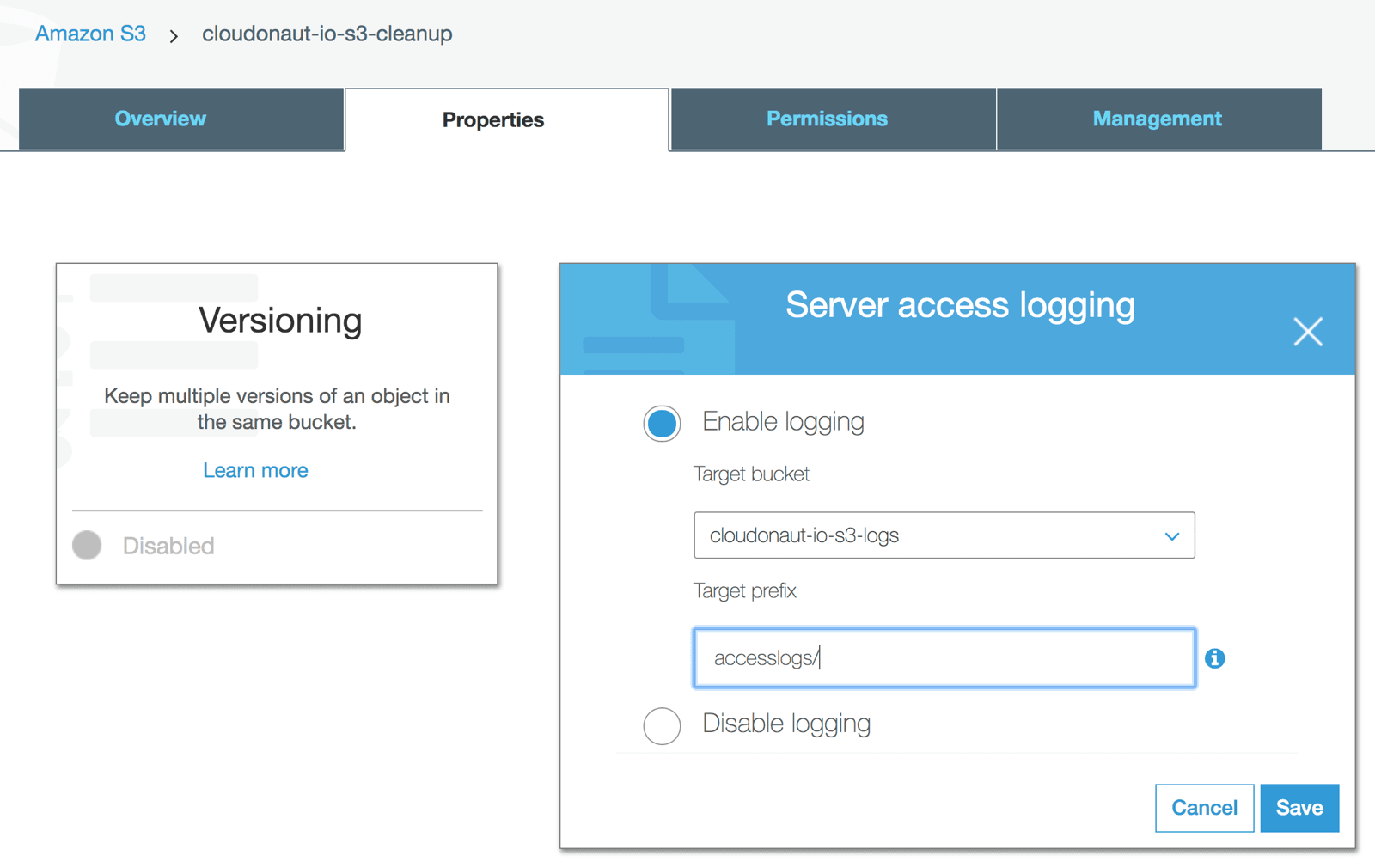Configuring S3 Access Logs