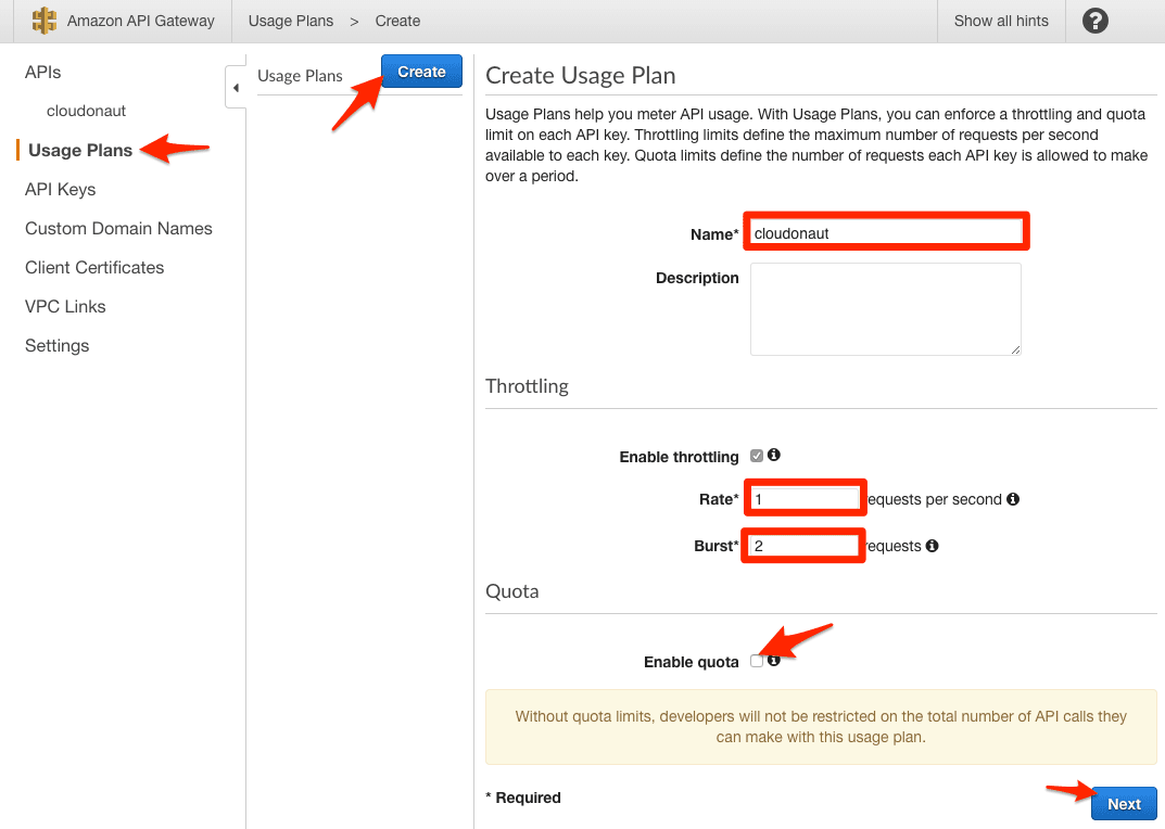 Creating a Usage Plan: Step 1/3
