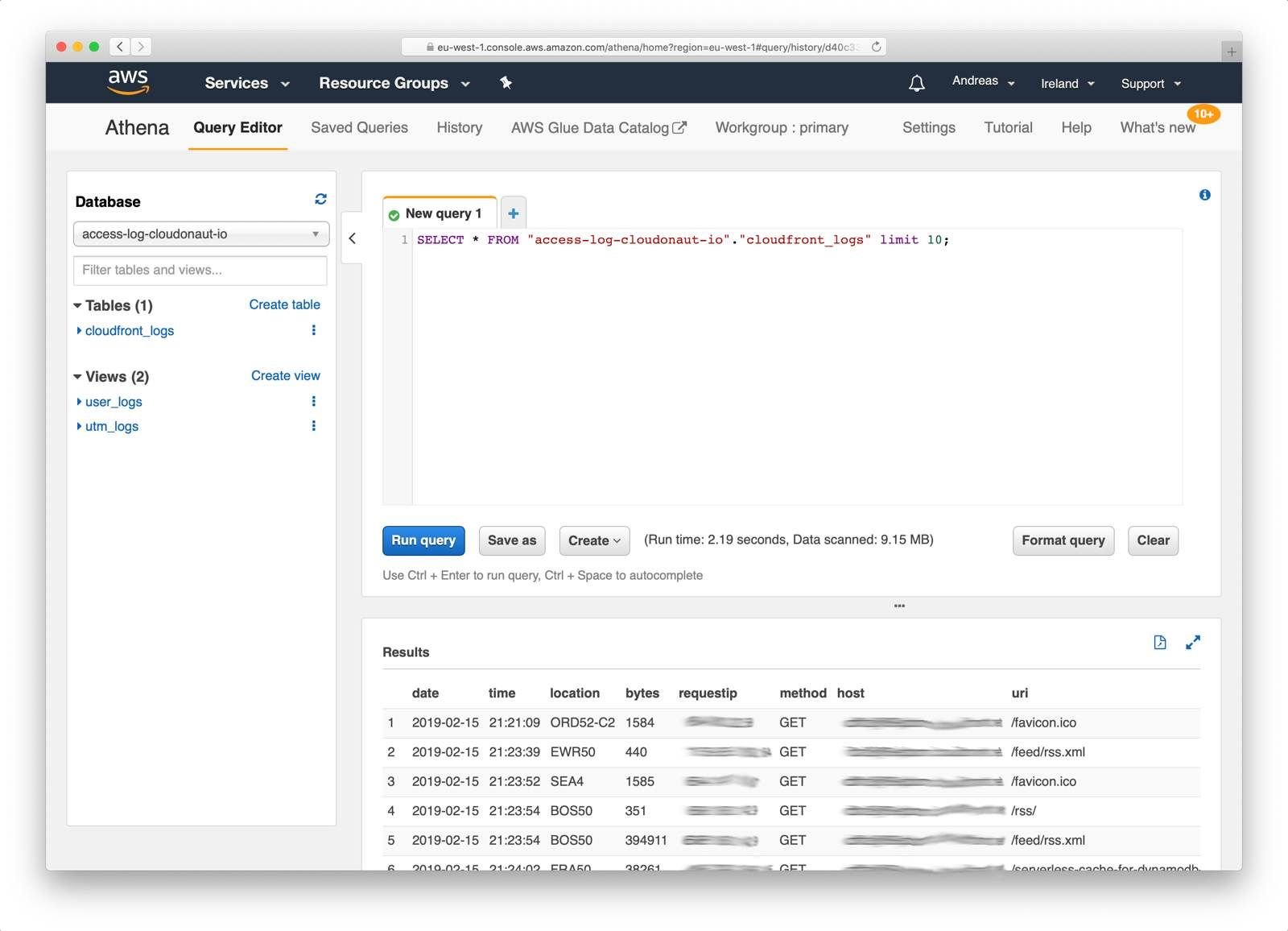Querying data with Athena